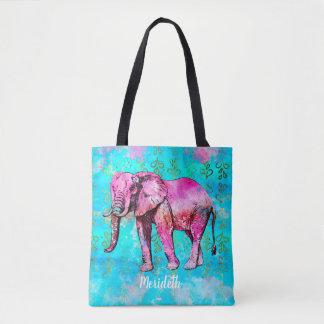 Tote Bag À la mode bleu d'éléphant de rose fait sur