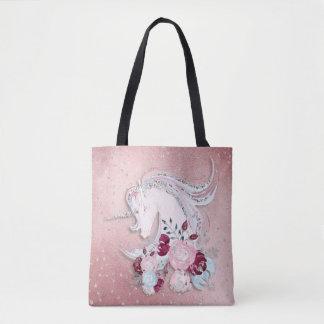 Tote Bag Accents roses et argentés de jolie licorne