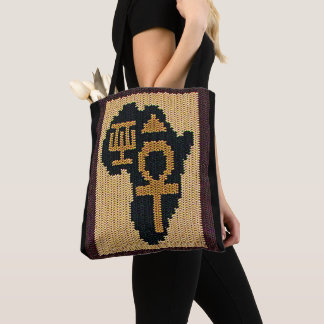 Tote Bag Africain Adinkra d'Ankh et crochet égyptien de