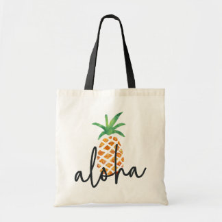 Tote Bag Aloha ananas tropical d'aquarelle