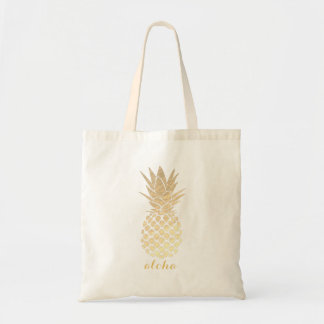 Tote Bag aloha ananas tropical hawaïen d'or