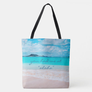 "Tote Bag ""Aloha"" océan de turquoise de citation et photo de"