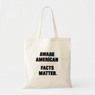 Tote Bag Américain averti. Matière de faits. Fourre-tout