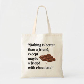 Tote Bag Amis drôles avec le texte de noir de chocolat