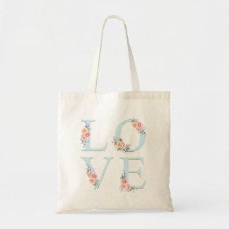 Tote Bag Amour dans la typographie florale d'alphabet de
