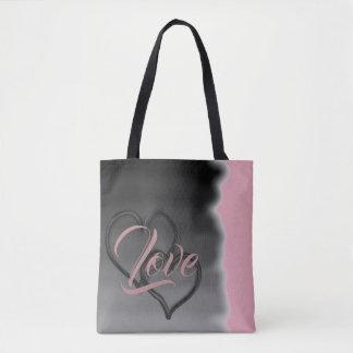 Tote Bag Amour de deux coeurs dans le rose