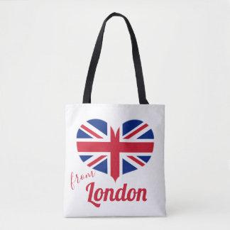 Tote Bag Amour de drapeau BRITANNIQUE en forme de coeur