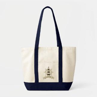 Tote Bag Amour nautique de marin de plage de roue de phare