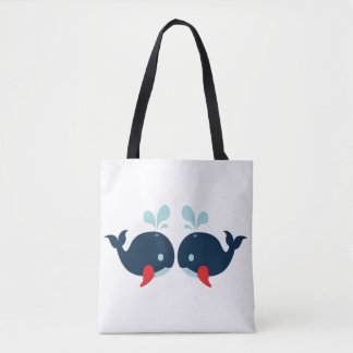 Tote Bag Amour nautique de poissons de baleines d'amour -