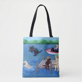 Tote Bag Amusement Labradors de lac peignant Fourre-tout