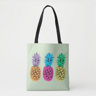 Tote Bag Ananas colorés illustrés