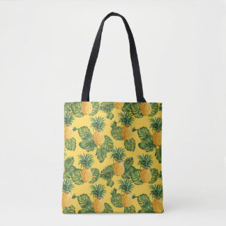Tote Bag Ananas et feuille tropical sur l'or