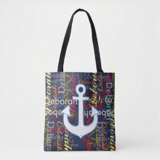Tote Bag ancre avec un motif des noms colorés sur le bleu