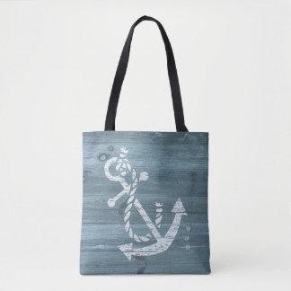Tote Bag Ancre blanche affligée par thème nautique de plage