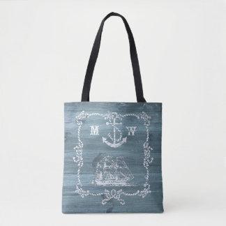 Tote Bag Ancre, cordes et bateau nautiques de thème