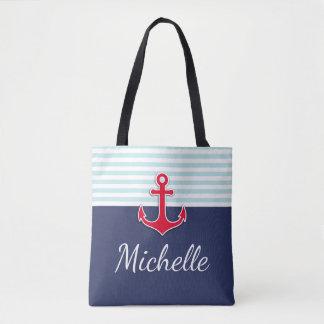 Tote Bag Ancre nautique bleu-foncé moderne de rouge de