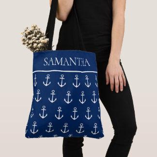 Tote Bag Ancres blanches sur le bleu marine personnalisé