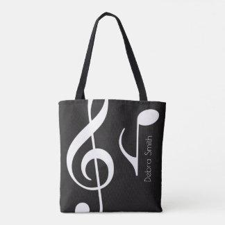 Tote Bag appelez avec le noir de notes musicales