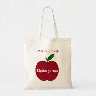 Tote Bag Apple du professeur rouge et vert personnalisé