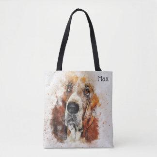 Tote Bag Aquarelle à la mode Basset Hound personnalisé