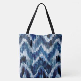 Tote Bag Aquarelle Chevron bleu Ikat