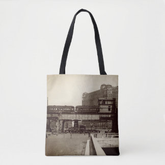 TOTE BAG AQUARELLE DE TRAIN DE CHARIOT À MARCHÉ DE