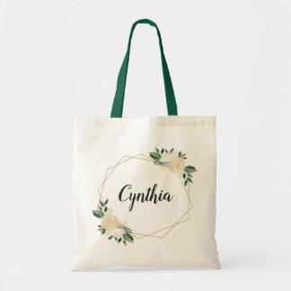 Tote Bag Aquarelle ene ivoire verte d'or de nature florale