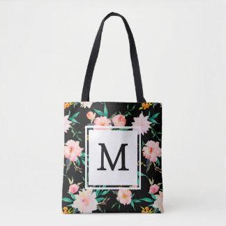 Tote Bag Aquarelle florale de monogramme à la mode Girly