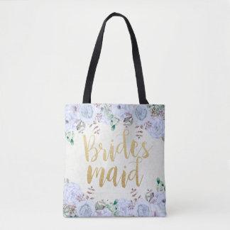 Tote Bag Aquarelle florale et demoiselle d'honneur de