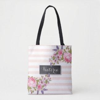 Tote Bag Aquarelle Fourre-tout personnalisé floral (rose)