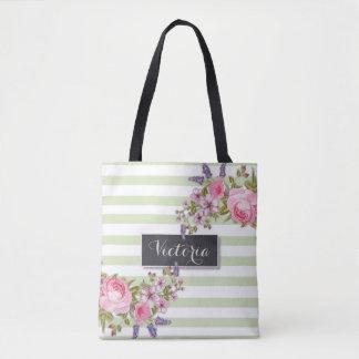 Tote Bag Aquarelle Fourre-tout personnalisé floral (vert)