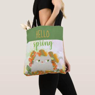 Tote Bag Aquarelle orange florale de ressort mignon de