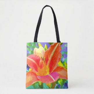 Tote Bag Aquarelle orange lumineuse de lis tout plus de -