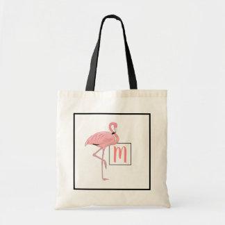 Tote Bag Aquarelle rose mignonne de flamant de monogramme