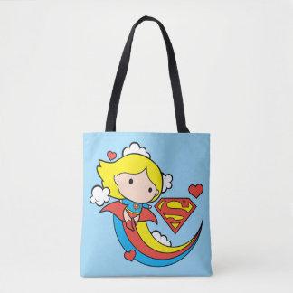 Tote Bag Arc-en-ciel de vol de Chibi Supergirl