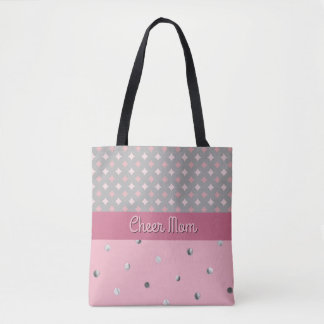 Tote Bag Argent de gris de diamants de rose de point de