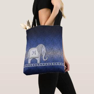 Tote Bag Argent de monogramme de promenade d'éléphant/ID390