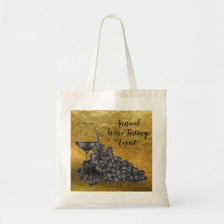 Tote Bag Arrière - plan d'or de raisins en verre de vin