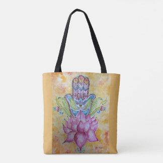 Tote Bag Art coloré Fourre-tout d'aquarelle de Hamsa