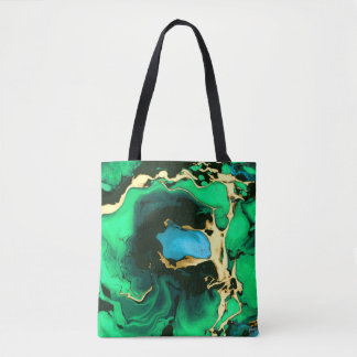 Tote Bag Art de marbre vert et noir d'or de peinture