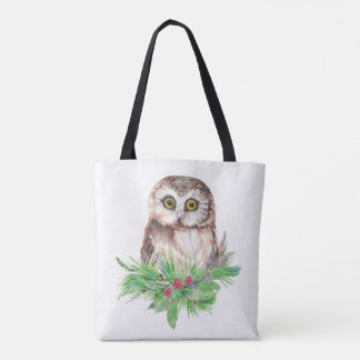 Tote Bag Art de nature de Noël d'oiseau de hibou