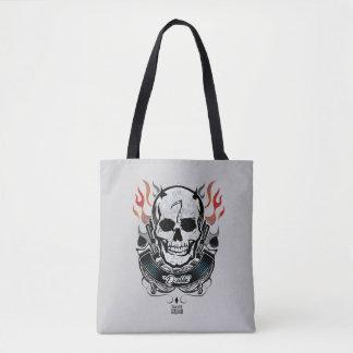 Tote Bag Art de tatouage de crâne et de flammes du peloton