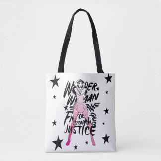 Tote Bag Art de typographie de brosse de femme de merveille