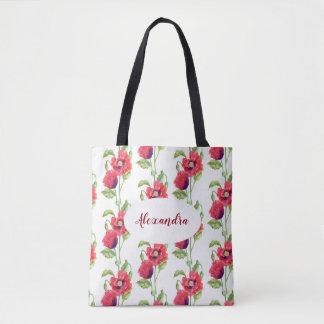 Tote Bag Art floral de pavots rouges faits sur commande