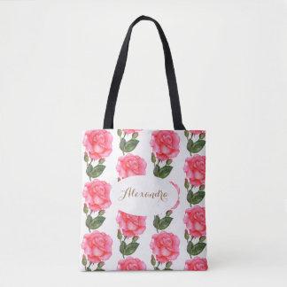 Tote Bag Art floral de roses roses faits sur commande