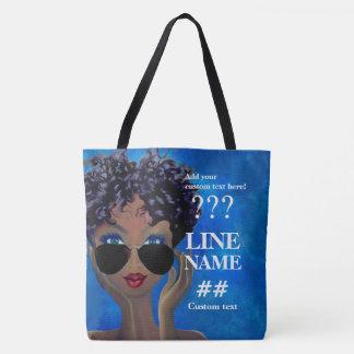 Tote Bag Art noir de sororité bleue faite sur commande