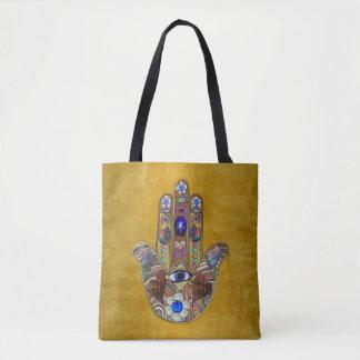 Tote Bag Art opale de fleurs de coeurs de Hamsa sur l'or