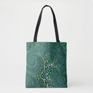Tote Bag Art turquoise de fractale de style de Steampunk de