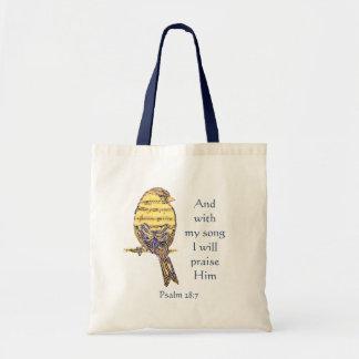 Tote Bag Avec ma chanson I félicitez-le oiseau d'écriture