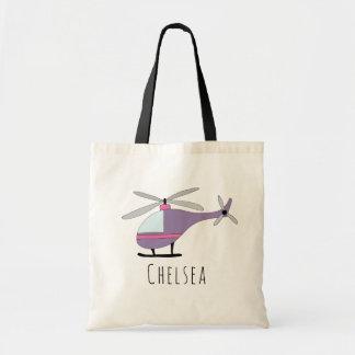 Tote Bag Avions mignons et nom d'hélicoptère de bébé